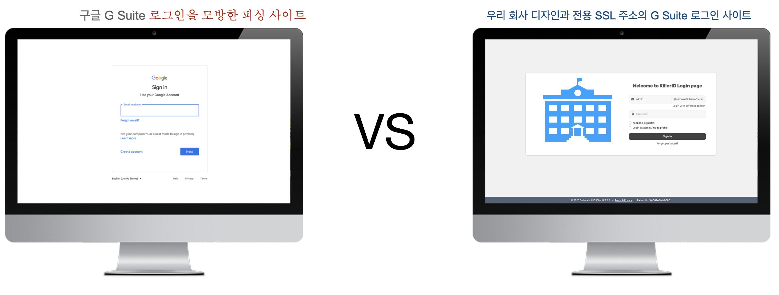 G Suite login vs KillerID Login